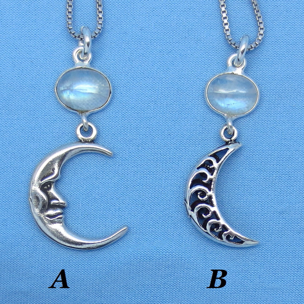 Rainbow Moonstone Moon Necklace - Sterling Silver - Filigree - June Birthstone - Zodiac Sign Cancer -- su171306