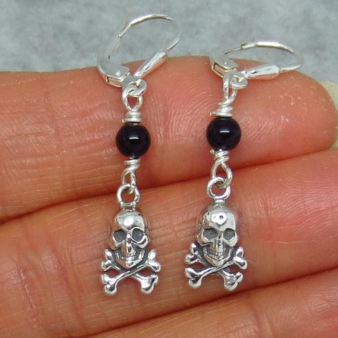 Tiny Genuine Black Onyx Pirate Earrings - Leverback - Sterling Silver - Skull & Crossbones - Halloween - 160708