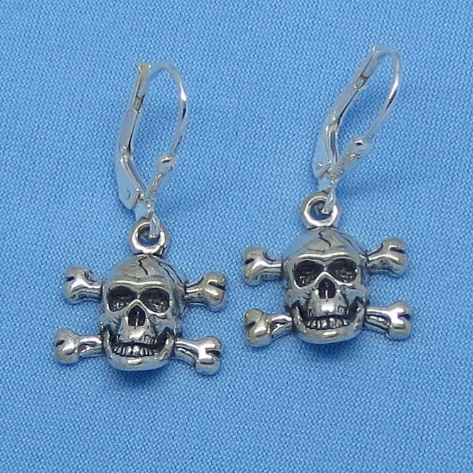Sterling Silver Pirate Skull Crossbones Earrings - Leverback - Halloween - Goth - 160853