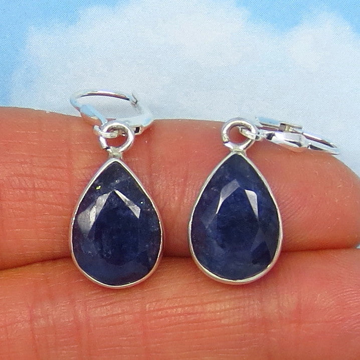 10.1ctw Natural Sapphire Earrings - Leverback - Sterling Silver - 14 x 10mm Pear Shape - Raw - Genuine - Blue - Large - 161959