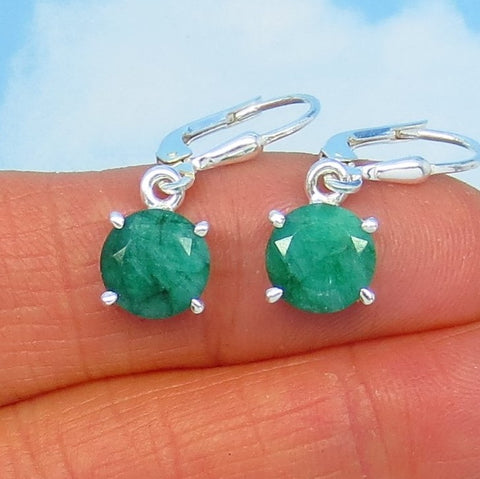 4.2ctw Natural Emerald Earrings Leverback Sterling Silver 8mm Round Genuine Raw 171426