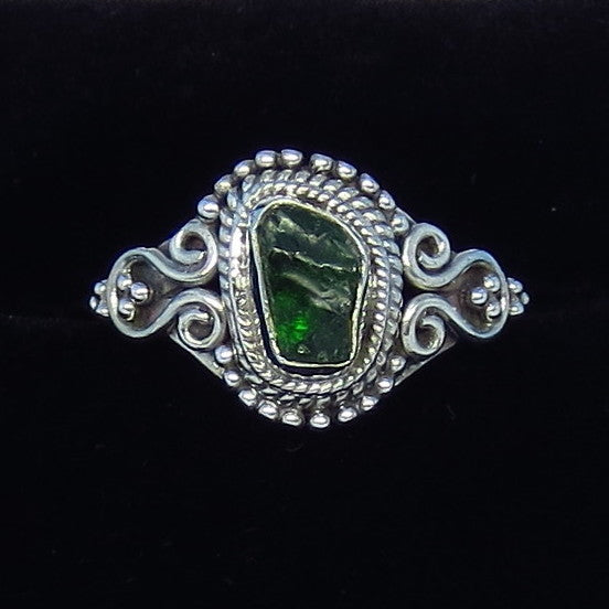 Size 7 Genuine Emerald Ring - Sterling Silver - Victorian Filigree - Bali Design - Rough Raw Emerald - Gothic Ring - M222