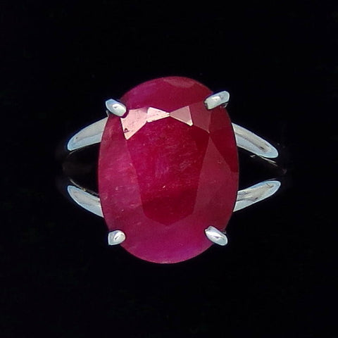 10.8ct Size 9-3/4 Genuine Ruby Ring - Sterling Silver - India Raw Natural Ruby - Simple - Oval - Large - Prong Set - rr0001-14