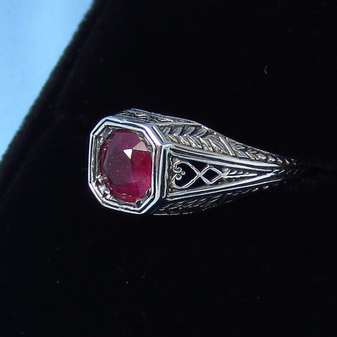 Size 6 3/4 - 1.0ct - Genuine Ruby Victorian Filigree Ring - Sterling Silver - Dainty - Gothic - Round in Square - Reproduction - MR11