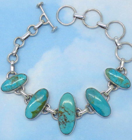 "Natural Mojave Blue Turquoise Bracelet - Sterling Silver - Genuine Arizona Turquoise - Adjustable 5-1/2"" to 7-1/2"" - jy194290"