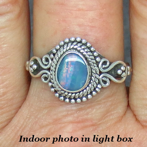 Size 9 Genuine Australian Opal Doublet Ring - Filigree - Sterling Silver -- Rss35