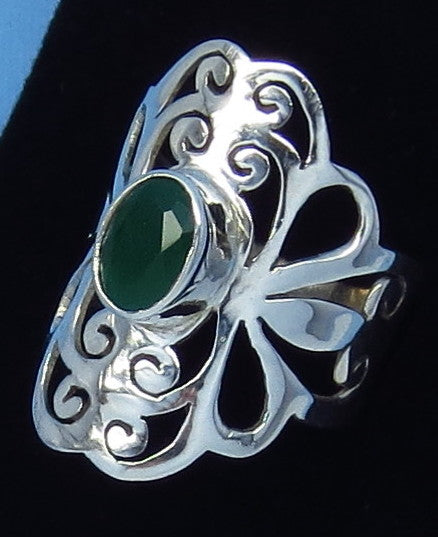 1.0ct Size 6 Genuine Emerald Ring - Sterling Silver - Jali Filigree - Natural Emerald - Gothic Ring - Victorian Design - sa151808