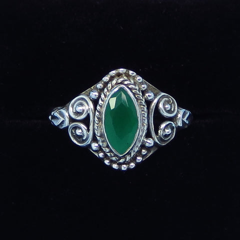 Size 6 Genuine Emerald Ring - .60ct - Sterling Silver - Marquise - Victorian Filigree - Bali Boho Gothic Ring - Natural Emerald - sa151108