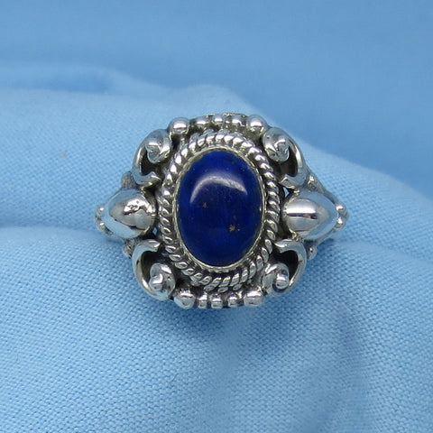 Size 6 Lapis Lazuli Ring - Sterling Silver - Oval - Victorian Filigree Boho Design - Gothic Ring - 171201