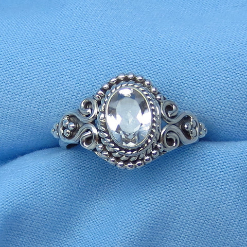 Size 5-3/4 Genuine White Topaz Ring - Sterling Silver - 1.0ct - 7 x 5mm Oval - Victorian Filigree Bali Design - sa161105