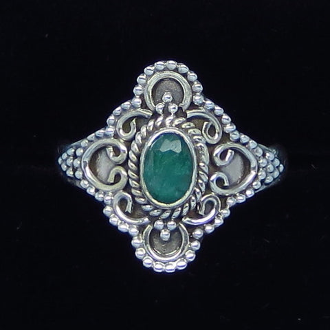 .52ct Size 9 Genuine Emerald Ring - Sterling Silver - Victorian Filigree - Bali Design - Raw Emerald - p171256