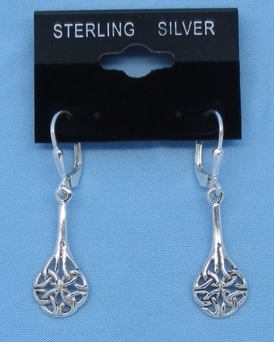 Sterling Silver Celtic Trinity Knot Earrings - Long Dangles - Leverback -- 200739