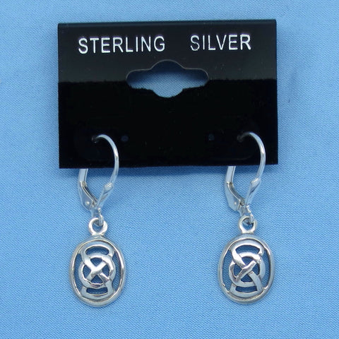 Small Sterling Silver Celtic Knot Earrings - Infinity - Leverback - Oval -- 190736