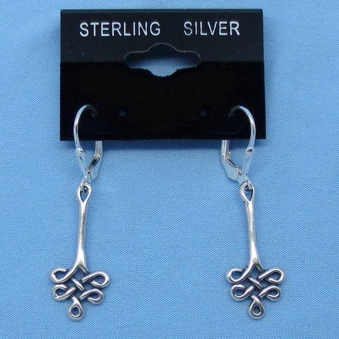 Sterling Silver Celtic Earrings - Long Dangles - Leverback - Celtic Knot - Love Knot -- 200733