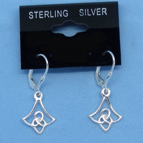 Small Celtic Knot Earrings - Sterling Silver - Leverback - Flowers - Trinity Knot - Hand Made -- 190697