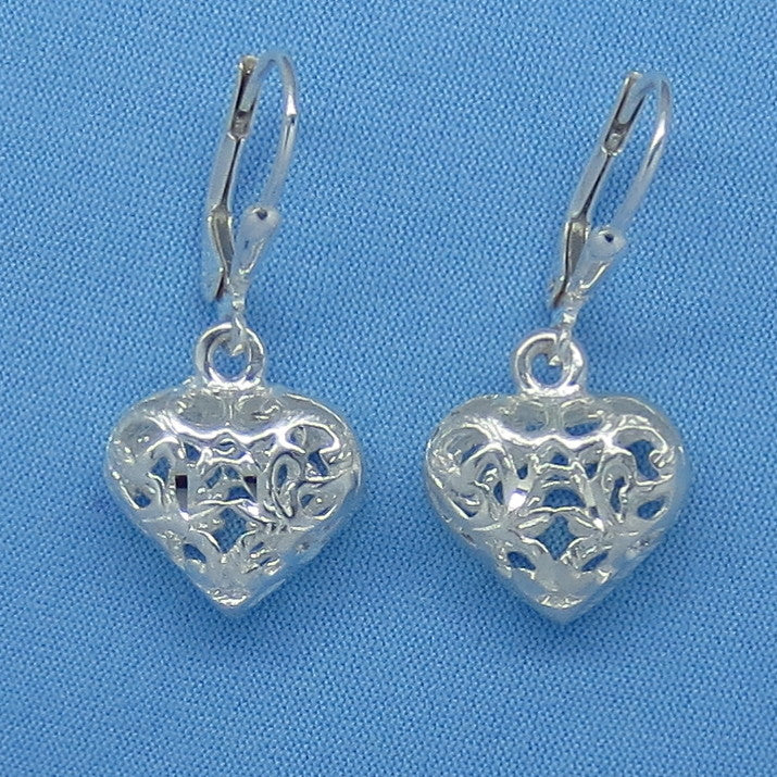 Sterling Silver Filigree Puff Heart Earrings - Leverback - Small - Sparkly Diamond Cut - 3-D - Made in Italy - su151089