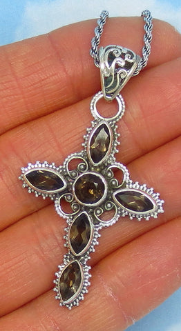 Natural Genuine Smoky Quartz Cross Pendant Necklace - Sterling Silver - Brand New Cross, Victorian Antique Filigree Design Large - jy171706