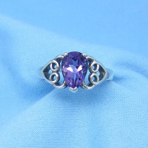 Size 9 0.90ct Genuine Amethyst Ring - Sterling Silver - Filigree - Heart Design - Pear Shape - c170821