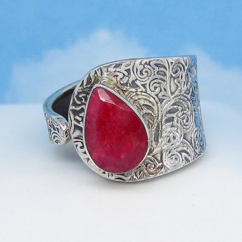 2.76ct Size 10 Natural Ruby Ring - Sterling Silver - Wrap Ring - Genuine Raw Ruby - Flower Leaf Filigree - Cigar Band Adjustable - rr0003-12