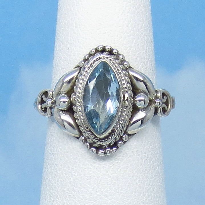 1.2ct Size 6-1/4 Natural Sky Blue Topaz Ring - Sterling Silver - Victorian Filigree Antique Design - Marquise - 10 x 5mm Genuine jy161183