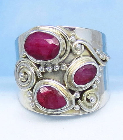 1.85ctw Size 6-1/2 Natural Ruby Ring - Sterling Silver - India Raw Genuine Ruby - Filigree Bali Design - Wide Band - jy161550