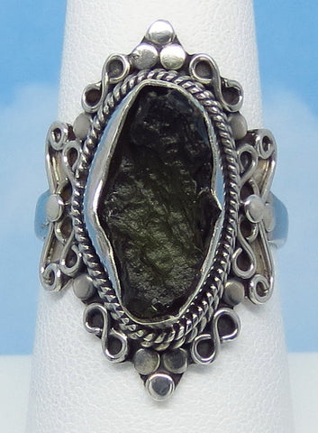 Size 7.75 Genuine Czech Moldavite Ring - Sterling Silver - Tall Filigree Ring - Victorian Design - Tektite - Meteorite - Natural - MM55