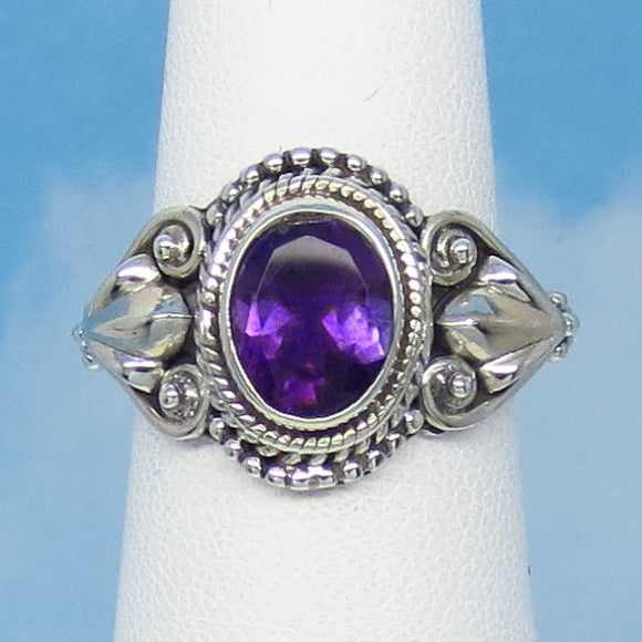 "1.75ct Size 7 Natural Amethyst Ring - Sterling Silver - Victorian Antique Design - Leaf Motif - 9 x 7mm Oval - 5/8"" Tall - jy161402ame"