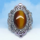 Size 7 Tiger Eye Ring - Sterling Silver - Victorian Filigree Design - Bali Boho Antique Design - Gothic Ring - sa161852