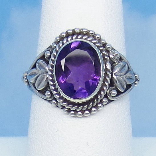 "2.3ct Size 8 Natural Genuine Amethyst Ring - Sterling Silver - Victorian Antique Design - Leaf Motif - 10 x 8mm Oval - 5/8"" Tall - jy161306"