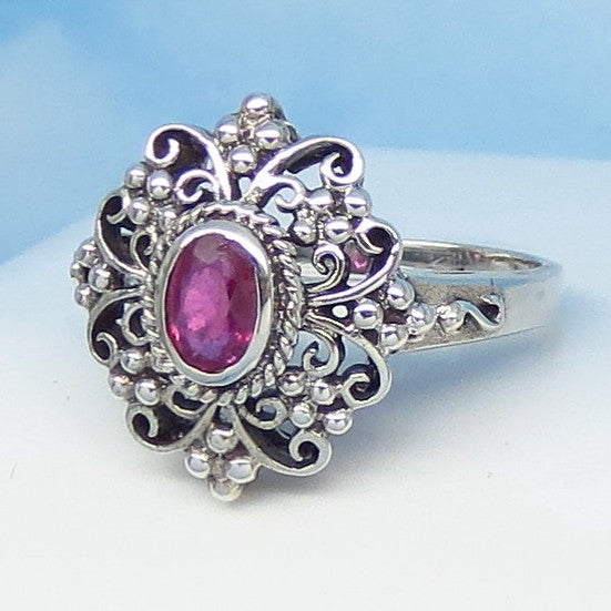 .60ct - Size 8 Natural Ruby Ring - Sterling Silver - Victorian Filigree Reproduction - Genuine Ruby - 6 x 4mm Oval Ruby