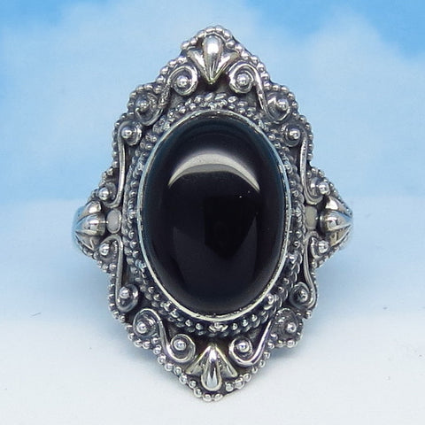 "9.75 Natural Black Onyx Ring - Sterling Silver - 1-1/8"" Tall - Oval - Vintage Victorian Antique Filigree Design - SA163406-a2220"