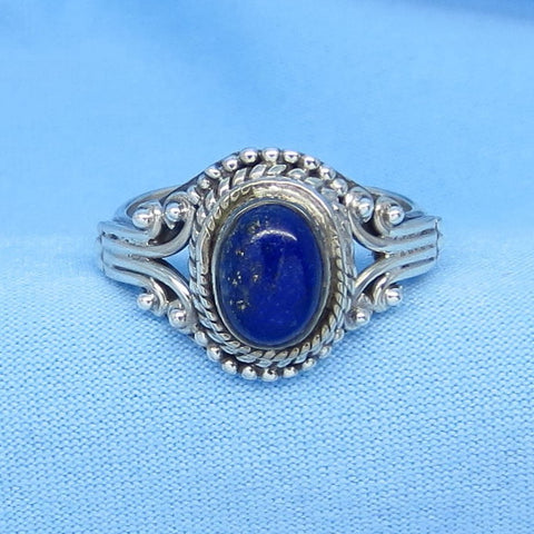 Size 6-1/2 Genuine Lapis Lazuli Ring - Sterling Silver - Oval - Victorian Filigree Boho Bali Design - Gothic Ring - 171207