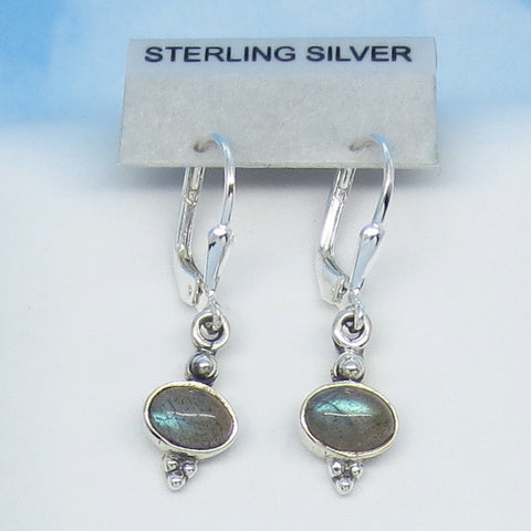 Teeny Tiny Teal Blue Labradorite Earrings - Leverback - Sterling Silver - East-West - Horizon - Victorian Design - Small - 170810