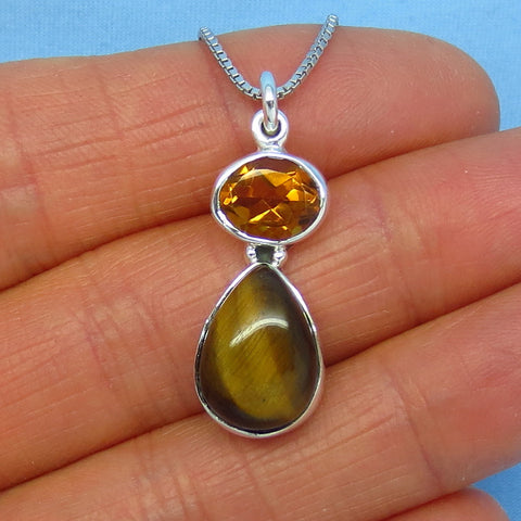 Genuine Tiger Eye & Citrine Sterling Silver Necklace - Pear Shape - Goddess Shape - t180909