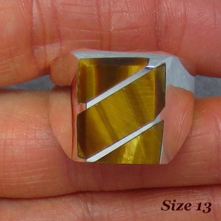 Size 13 Mens Tiger Eye Ring - Sterling Silver - Handmade - Taxco - Inlay - 264524