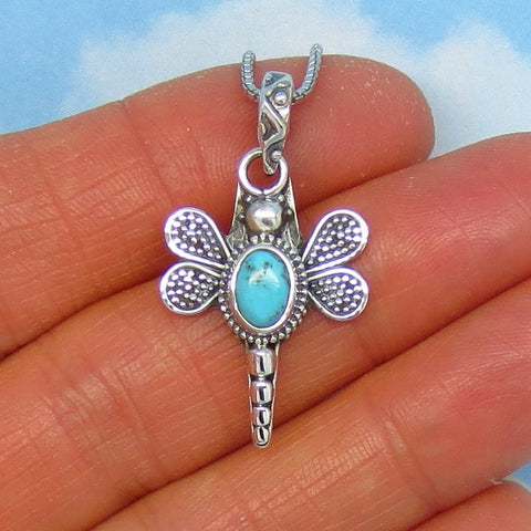 Tiny Natural Arizona Turquoise Dragonfly Pendant Necklace - Sterling Silver - Genuine Arizona Turquoise - Small - Dainty - p171175
