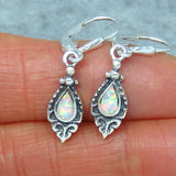 Tiny Lab Opal Earrings - Sterling Silver - Leverback - Victorian Filigree Design - Pear Shape White Opal - Marquise Setting - 261239