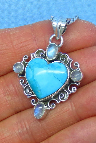 Mojave Blue Turquoise Heart Pendant Necklace - Sterling Silver - Filigree - Robin's Egg Blue - Natural Genuine Arizona - p151710