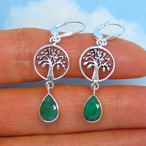 2.0ctw Natural Emerald Tree of Life Earrings - Leverback - Sterling Silver - 9 x 6mm Pear Shape - Genuine Raw Emeralds - su161519