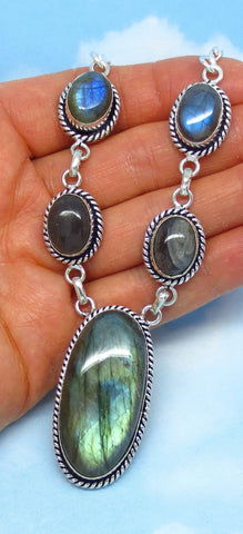 "Large Labradorite Necklace - Sterling Silver - 18"" Long - Collar - Statement Necklace - 1-3/4"" x 7/8"" Main Pendant - sa160426"