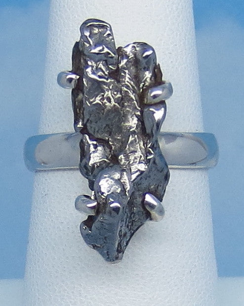 "Size 6-1/2 Meteorite Ring - Campo del Cielo - Argentina - Sterling Silver - 7/8"" Tall - 23 x 9mm Meteorite - Genuine Natural Real - m261608"