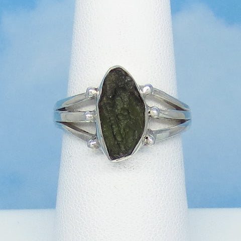 Size 7-1/2 Czech Moldavite Ring - Sterling Silver - Small ish - Simple - Modern - Tektite - Meteorite - Natural Genuine - MM31