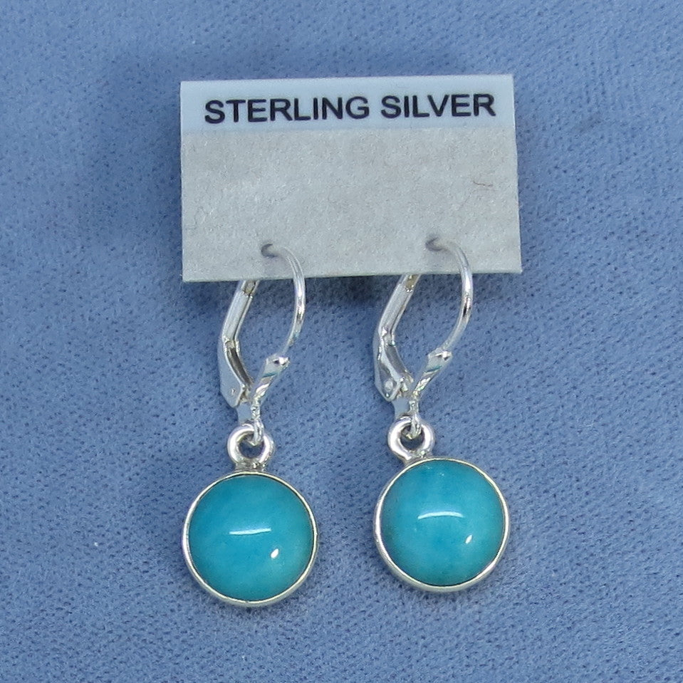 9mm Genuine Amazonite Earrings - Leverback - Sterling Silver - Small - Simple - Aqua - Round - Handmade - 171319