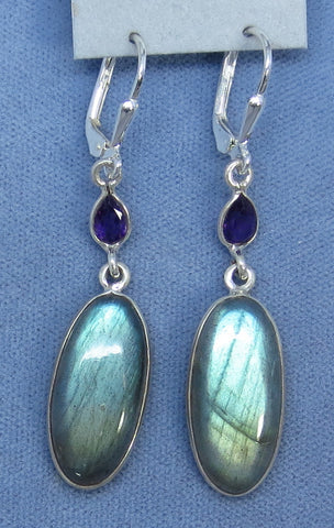 Labradorite and Amethyst Sterling Silver Leverback Earrings - 182449