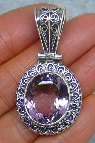 Genuine Amethyst Pendant - Sterling Silver - Victorian Filigree Design - Large - Oval - A171722