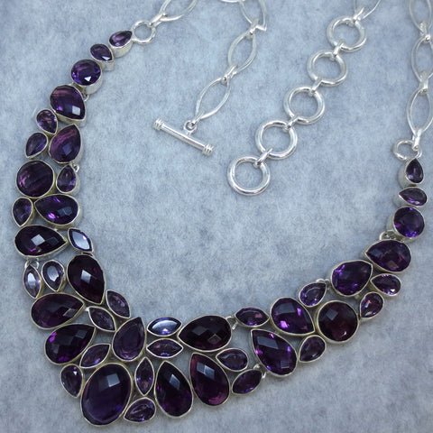 Genuine  Amethyst Collar Necklace #2 Sterling Silver 143040