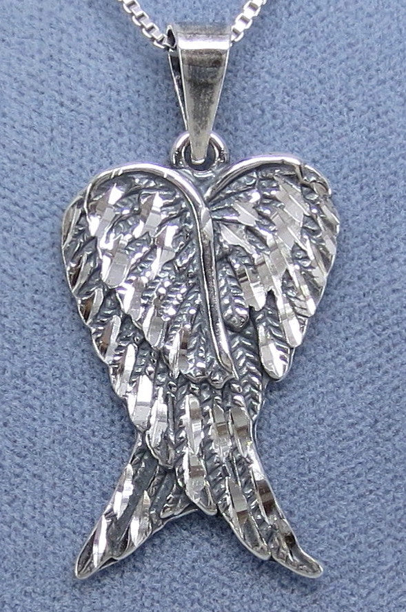 Large Angel Wings Necklace - Sterling Silver - Handmade - P200624