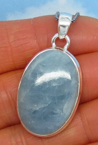 "1 1/2"" Natural Aquamarine Pendant Necklace - Sterling Silver - 9.1g - Large Oval Cabochon - Genuine Raw Aquamarine from Brazil - aq162210"