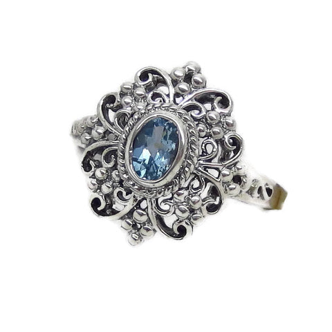 1/2ct Genuine Aquamarine Ring - Sterling Silver - Victorian Filigree Reproduction - Deco - c181603