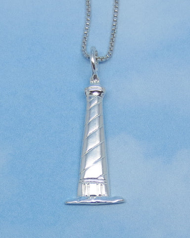 Sterling Silver Lighthouse Necklace - Beach - Nautical - Ship - Sailor - Ocean - p150310